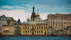 View Church of the Savior on Blood in Saint Petersburg from Neva river. Stock Footage