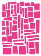 irregular square and rectangle shapes in pink over white - stock illustration