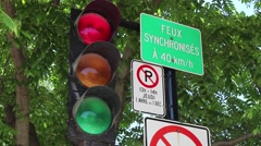 Montreal Traffic Lights French Panels Green to Red Stock Footage