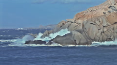 Capo Testa Granite Rock Coast Sardinia Italy - 25FPS PAL Stock Footage