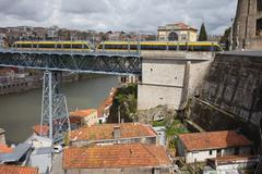 Metro on Dom Luis I Bridge in Porto - stock photo