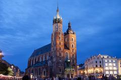 Stock Photo of St Mary's Basilica in Krakow at Night