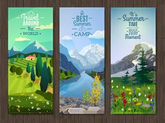 Summer landscape vertical banners set - stock illustration