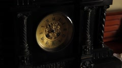 Antique clock on table Stock Footage