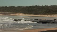 Beach, Pacific ocean, Waves, Rocky coastline, NSW coast, Australia HD Stock Footage