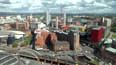 ULTRA HD 4K Timelapse Manchester aerial view cityscape car pass tramway train  Stock Footage