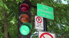 Montreal Traffic Lights French Panels Red To Green Stock Footage