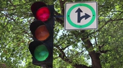 Montreal Traffic Lights with panel Red to Green Stock Footage