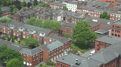 ULTRA HD 4K Aerial view Manchester suburban architecture residential district  Stock Footage