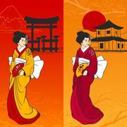 Geisha Banner Vertical - stock illustration