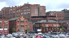 ULTRA HD 4K Famous old building Manchester landmark red brick traditional facade Stock Footage