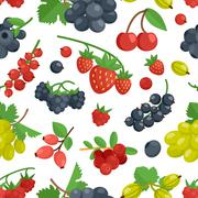 Berries Color Seamless Ornament - stock illustration