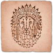 Lion in war bonnet, hand drawn animal illustration Stock Illustration