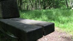 Slider shot of park bench - stock footage