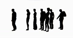 4k Group Of People silhouette Waiting In Line. Stock Footage