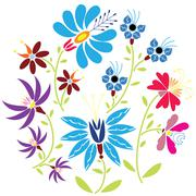 Colour Folk Floral pattern in circle on white background - stock illustration