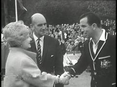 Queen Mother Meets Cricketers (Archival Footage) Stock Footage