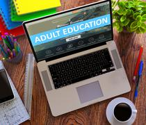 Adult Education Concept on Modern Laptop Screen - stock illustration