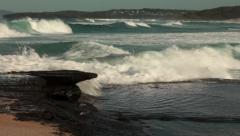 Beach, Pacific ocean coastline, Waves, Rocky coastline, NSW coast, Australia HD Stock Footage