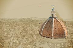 The Basilica di Santa Maria del Fiore, Florence, Italy Stock Illustration