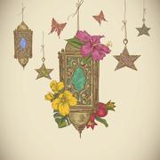Stock Illustration of Traditional greeting card with arabic  lantern, flowers and stars