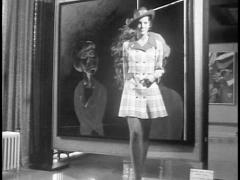 1960s (Archive Footage) Fashion Model At Art Gallery Stock Footage