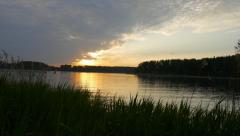 A beautiful sunset at lake near moscow Stock Footage