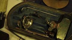 Antique doctor utensils - stock footage