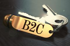 Stock Illustration of B2C - Bunch of Keys with Text on Golden Keychain
