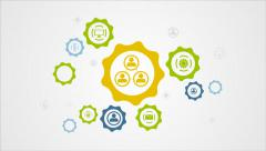 Moving gears mechanism and social icons video animation Stock Footage