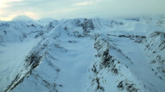 Aerial footage of Alaska mountains glaciers and clouds - stock footage