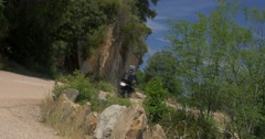 4K, Bikers on Corsica, D81 Road to Porto Stock Footage