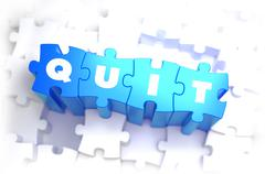 Quit - Text on Blue Puzzles Stock Illustration