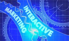Interactive Marketing on the Gears. Blueprint Style Stock Illustration