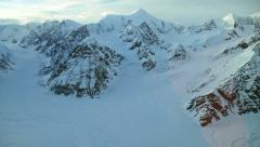 Aerial footage of Alaska mountains, glaciers and clouds Stock Footage