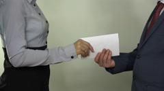 Illegal payment for works. Hand give money in envelope. 4K Stock Footage