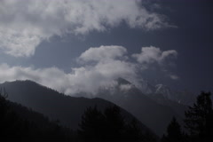 Mountains of Nepal, Clouds Time lapse Stock Footage