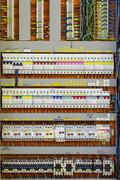 Control panel with static energy meters and circuit-breakers - fuse Stock Photos