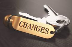 Changes - Bunch of Keys with Text on Golden Keychain - stock illustration