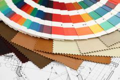 Color samples of architectural materials Stock Photos
