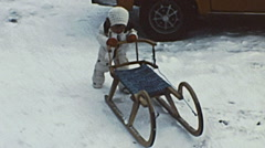 Austria 1978: child with a little sled Stock Footage