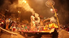 VARANASI, INDIA -  Ganges river and Varanasi ghats during Kumbh Mela festival Stock Footage