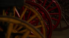Wagon wheels in a row Stock Footage