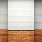 empty room with brick walls - stock illustration
