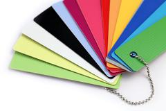 palette of color samples of plastics, PVC, for furnishing - stock photo