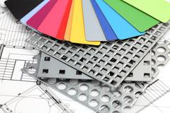 Palette of colors designs for interior works, samples of plastics Stock Photos