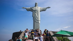 Timelapse View of Tourists at Christ the Redeemer Statue, Rio de Janeiro, Brazil - stock footage