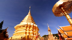 Wat Doi Suthep, Buddhist temple in Chiang Mai Thailand. Stock Footage