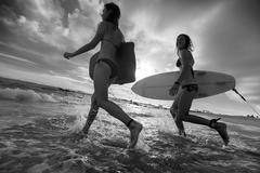 Two ladies surfers running with surfboards into the sea at sunset - stock photo