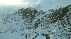 Aerial footage of Alaska mountains glaciers and clouds Stock Footage